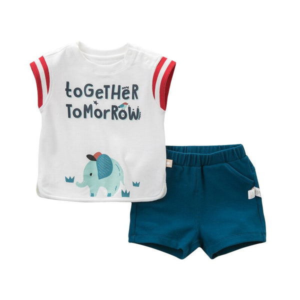 DBH10297 dave bella summer baby boys fashion clothing sets casual short sleeve suits children white clothes - thefashionique