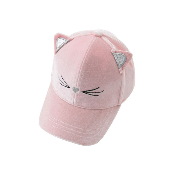DBK9042 dave bella autumn kids girls hat baby pink cats cute hat children baseball cap - thefashionique