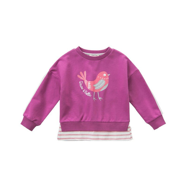 DBK9136 dave bella baby girls spring infant baby fashion t-shirt toddler top 5-13Y children high quality tees bird clothes - thefashionique