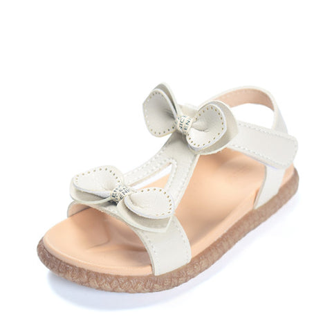 DIMI 2019 New Summer Girls Sandals Genuine Leather Soft Comfortable Bow Princess Shoes Kids Baby Non-slip Flat Sandals for Girl - thefashionique