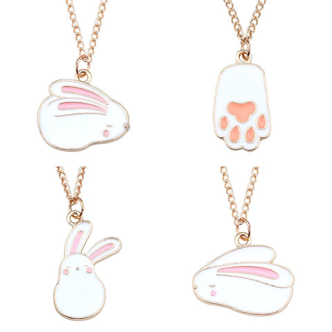 DIY Trendy Cute Colorful Animal Pendant Kawaii Rabbit Necklaces&Pendants Gold Chains Pet Paw For Women Girls Gifts Drop Shipping - thefashionique