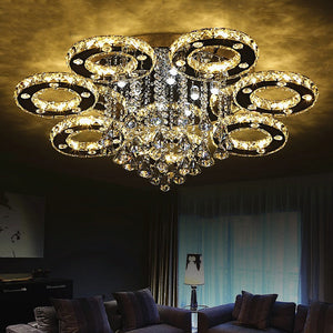 DIY ring  Crystal LED ceiling lights lamparas de techo cristal for living room Bedroom Home Lighting ceiling lamp fixtures