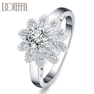 DOTEFFIL 925 Sterling Silver Sunflower AAA Zircon Ring For Women Fashion Wedding Engagement Party Gift Charm Jewelry