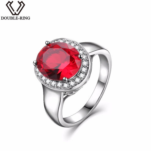 DOUBLE-R Sterling Silver Rings for Women 2.65ct Oval Created Ruby Gemstone Zircon 925 Engagement Ring - thefashionique