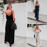 DROPSHIP 2018 New Arrival Women Sexy Backless Rompers Solid Long Camisole Elastic Waist Jumpsuit With Belt Hot Sale #J05 - thefashionique