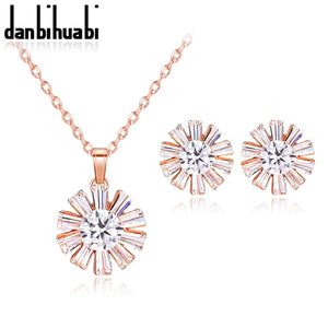 Danbihubia 3 Colors Rose Gold color Bridal Jewelry Sets & More for Women Wedding with High Quality AAA Zircon - thefashionique