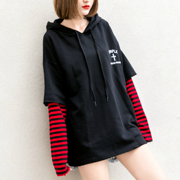 Dandeqi 2017 Long Sleeved Sweatshirt for Women Striped Pullovers BF Wind Hoodie Female Hooded Hoddies Solid Tops XAB1022 - thefashionique