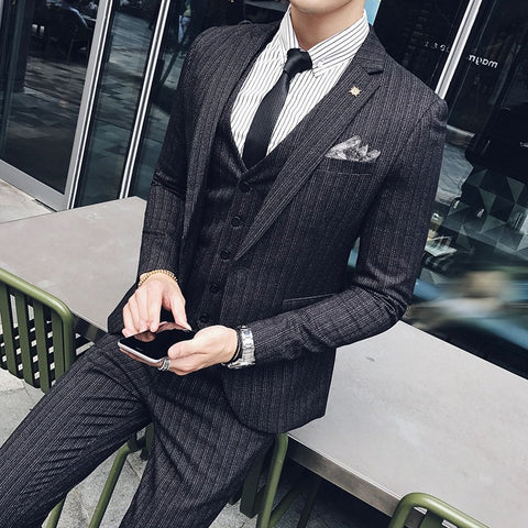 Dark Blue Men Suits Striped Terno Masculino Slim Fit Black Tuxedo Traje Hombre Formal Mens Suits Designers 2018 Costume Homme