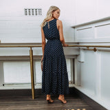 DeRuiLaDy 2018 Women Sexy Button Maxi Dress Female Fashion Dot Print Sleeveless Summer Dresses Casual Beach Long Dress Vestidos - thefashionique