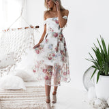 DeRuiLaDy Women Elegant Flower Print Backless Dress Sexy Off Shoulder Summer Long Dresses Fashion Casual Party Dress vestidos - thefashionique