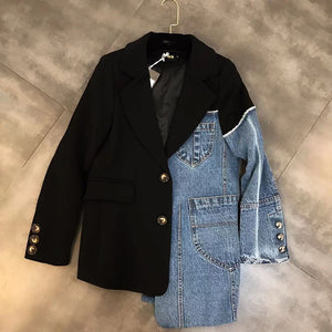 Denim Jacket Women Spring Autumn Korean Lapel Stitching Personality Overalls Loose