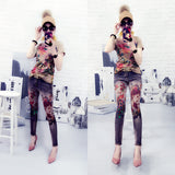 Denim Pants 3D Printed Stretchy Jeans Lighting Women Peacock Flower Printing Pattern Large Size 32 Skinny Jeans For Lady Denim - thefashionique