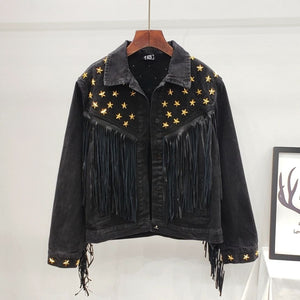 Denim Women Jacket Autumn New Spring Vintage Star Rivet Suede Fringe Loose Coat