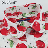 Dioufond Summer Pineapple Cherry Print Blouse Shirt Long Sleeve Cotton Women Blouses Casual Plus Size Shirts Blusas Femininas - thefashionique