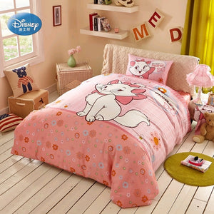 Disney Cartoon Pink Marie Cat Bedding Set Duvet Cover Pillowcases 100% Cotton Bedlinen for Children Girls Kids Gift