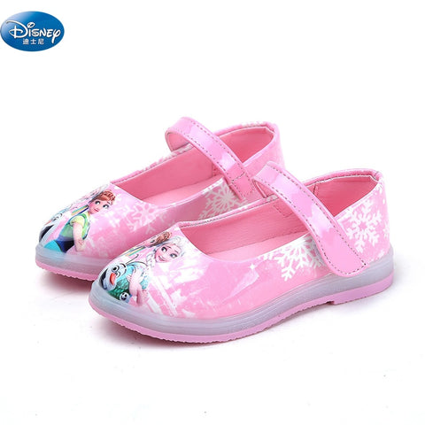 485fa75d1e0b Disney frozen new girls sandals with LED light 2018 3D leather shoes  Cartoon shoes Europe size