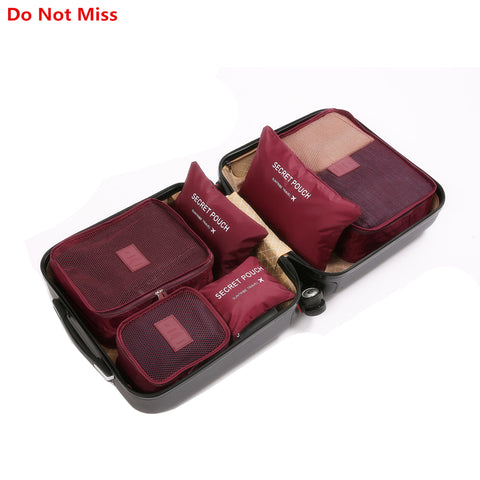 Do Not Miss Dropship 6PCS/Set High Quality Oxford Cloth Travel Mesh Bag Luggage Organizer Packing Cube Organiser Travel Bags