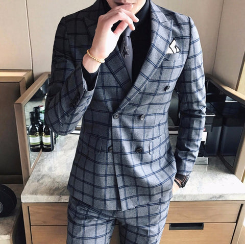 Double Breasted Mens Suits 2017 Grey Plaid Social Suits Mens Birtish Style Terno Slim Fit Business Stylish Suits Mens Tuxedo