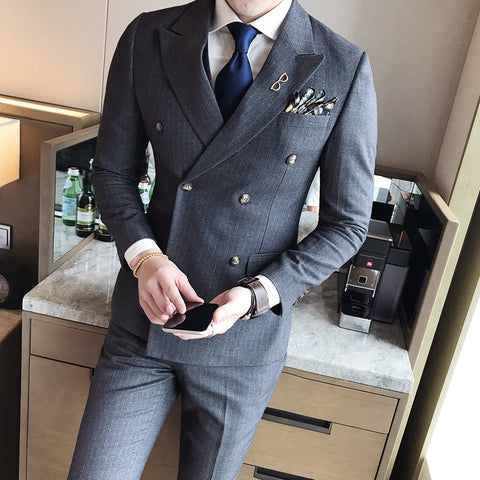 Double Breasted Suits Mens 2017 British Style Suits Mens Striped Suits Terno Slim Fit Blue Social Dress Business Vintage Grey