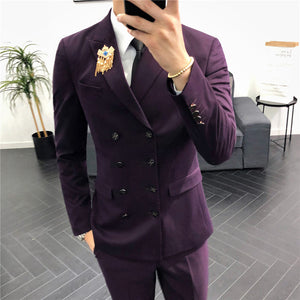 Double Breasted Suits Mens Green Terno Masculino Slim Fit Burgundy Mens Suits Designers 2018 Smoking Para Hombre Winter Elegante - thefashionique