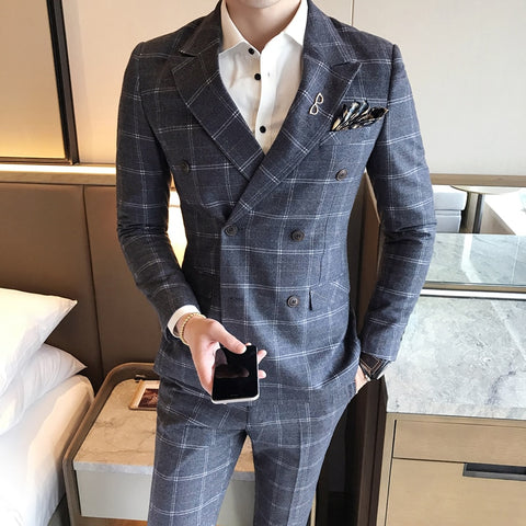Double Breasted Suits Mens Plaid Stylish Suits Mens Slim Fit 2 Piece Mens Dinner Jackets Formal Wear Wedding Groom Prom Club