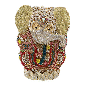 Double Flower Elephant Women Evening Bags Wedding Clutches  Ladies Crystal Party Metal Minaudiere Purses and Handbags - thefashionique