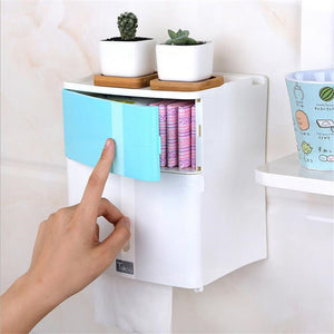 Double Layer Bathroom Storage Box Toilet Paper Sanitary Napkin Storage Holder Wall Mounted Shelves For Shower Gel Women - thefashionique