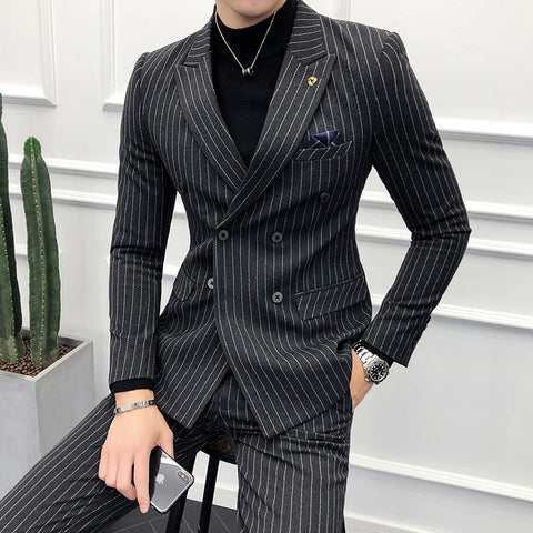 Double-breasted Suits Mens Striped Man Suit Slim Fit 2018 Smoking Man Skinny Suits Business Black Tuxedo Pantalon Costume Homme