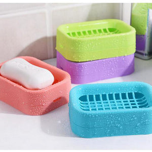Double layer Anti-slip Soap Dish Wheat Straw Container Drain Rack Plate Tray Soap Box Storage Holder - thefashionique