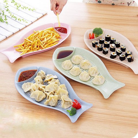 Double-layer Drain Dumpling Plates Fish Shape Sushi Snacks Plate Anti Slip Fruits Tray Dinnerware