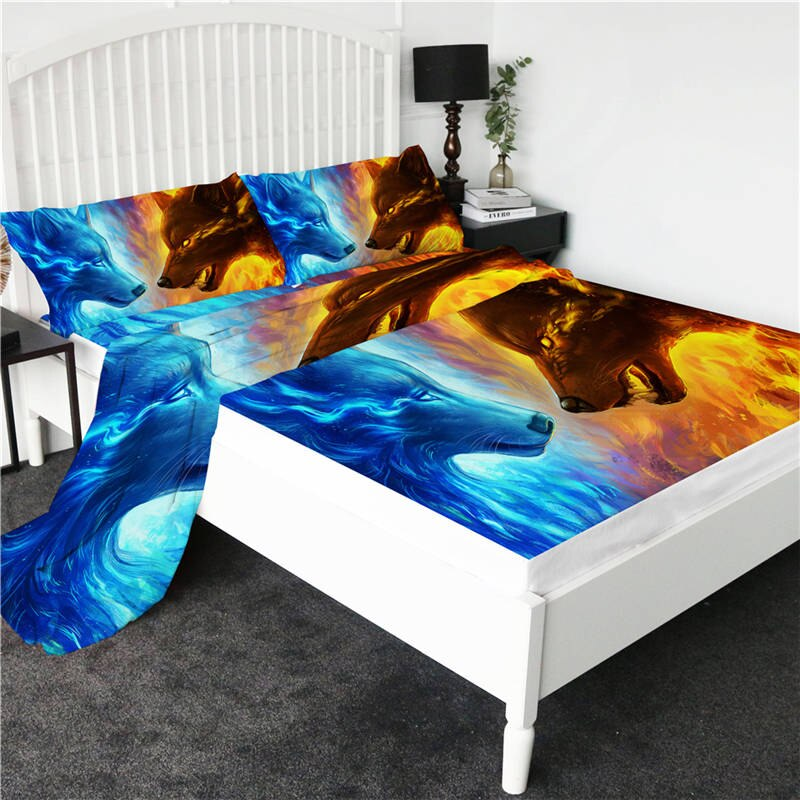 Dream Catcher by JoJoesArt Bed Sheets Set 4-Piece 3D Printed Fitted Sheet Moon Eclipse Flat Sheet Wolf Galaxy Print Bedding King