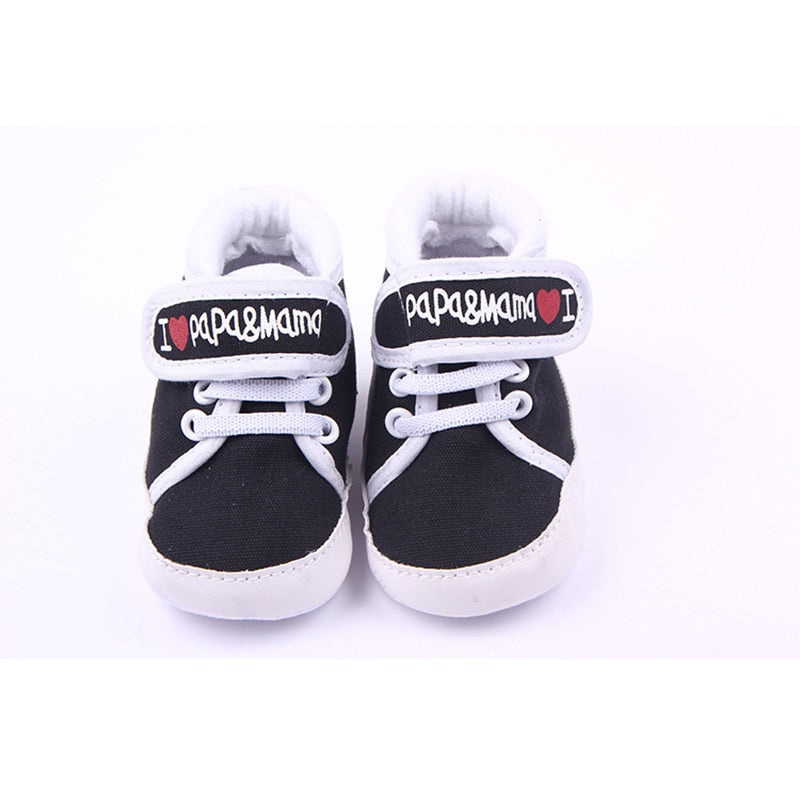 DreamShining Baby Shoes Love MaMa PaPa Kids Boy Girl Shoes Non-slip Infant Toddler Newborn First Walkers Soft Sole Shoes 0-18M - thefashionique