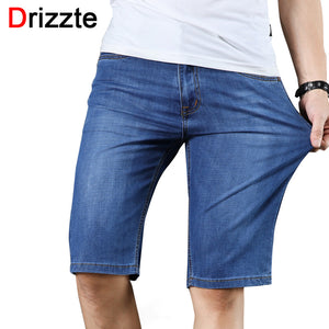 Drizzte Mens Jeans Shorts 2018 Newest Spandex Stretch Denim Jeans Knee Length Shorts Light Blue Wash Style Slim Fit Shorts - thefashionique