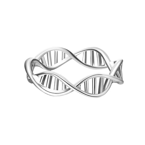 Drop shipping Handmade Silver Plated DNA Ring - 5mm Handcrafted Jewelry  Genetics Rings - Valentine Day Gift - thefashionique