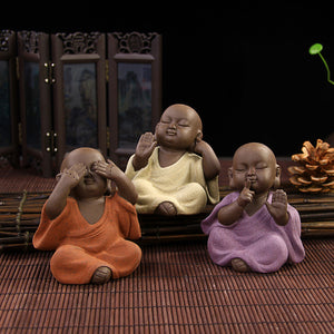 Dropship Chinese ceramic buddha statue Painted pottery tea pet home decor Decoration wholesale small monk - thefashionique