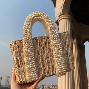 Dropshipping  Summer Fashion Fast Logistics Straw Bag Beaded Leather  Luxury Handbags Women Bags Designer  Bags for Women 2020
