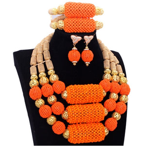 Dubai Jewelry Sets Bridal Gold & Orange Balls Big African Costume Nigerian Wedding Jewellery Set For Women Gift Free Shipping