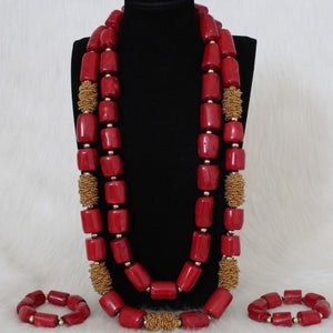Dudo Jewellery 34 inches 15-23mm Nature Coral Beads Nigerian Wedding African Bridal Jewelry Set For Women Red / Wine And Gold