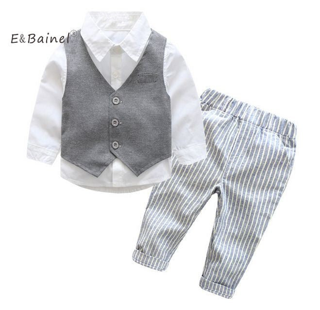 E&Bainel 2017 New Baby Boys Gentleman Suits Infant Newborns Clothes Sets Kids Vest+Shirt+Striped Pant 3 Pcs Sets Children Suits - thefashionique