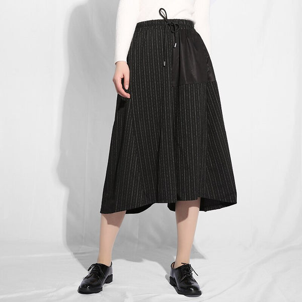 [EAM] 2019 New Spring Summer High Elastic Waist Black Striped Split Pocket Loose Wide Leg Pants Women Trousers Fashion JE656 - thefashionique