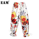 [EAM] 2019 New Spring Summer High Elastic Waist Loose Pattern Printed Personality Wide Leg Pants Women Trousers Fashion JT282 - thefashionique