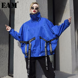 [EAM] 2019 New Spring Summer Stand Collar Long Sleeve Blue Letter Printed Ribbon Big Size Jacket Women Coat Fashion Tide JQ064 - thefashionique