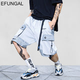 EFUNGAL Hip Hop Knee Length Pocket Reflective Stripe Summer Shorts Men 2019 Fashion Streetwear Loose Jogger Male Fitness Shorts - thefashionique