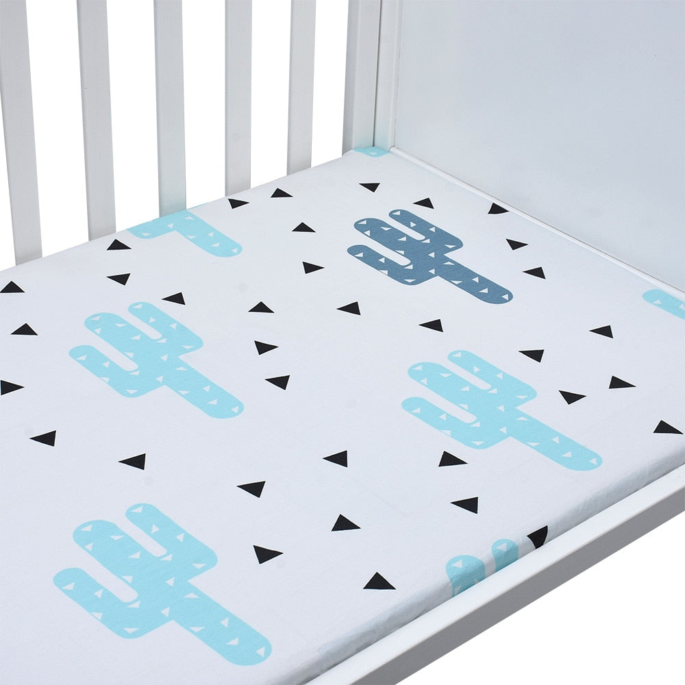 EGMAOBABY  100% Cotton Crib Fitted Sheet Soft Baby Bed Mattress Cover Protector Cartoon Newborn Bedding For Cot Size 130*70cm - thefashionique