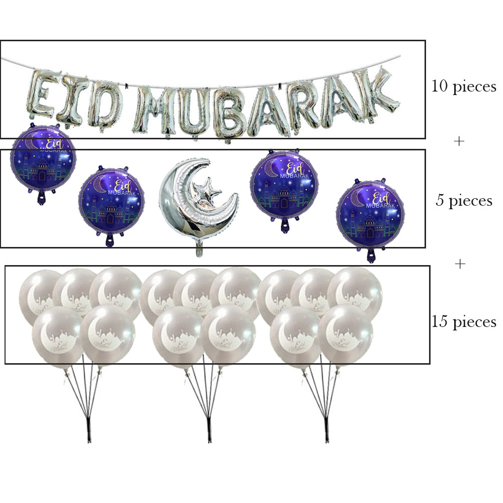 EID MUBARAK balloons garland deco ramadan kareem happy eid moubarak decor decorations air helium foil latex balloons - thefashionique