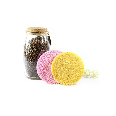 ELECOOL 1pc Natural Wood Fiber Face Wash Cleaning Sponge Beauty Makeup Tools Accessories Round Yellow Pink Puff Facial Cleanser - thefashionique