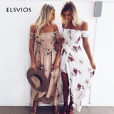 ELSVIOS 2018 New Boho Style Off Shoulder Women Long Dress Beach Floral Print Summer Dress Chiffon Slash Neck Maxi Dress XS-5XL - thefashionique