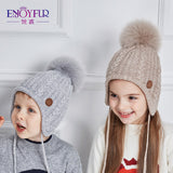 ENJOYFUR Ages 2-8 baby hat Children Winter Hats For Girls&Boy Cotton Thick Warm Knitted Ears Beanie Fox Fur Pompom Cap