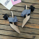 EOEODOIT Women Pumps Sandals 2018 Autumn Med Chunky Heel Pointed Toe With Big Grid Plaid Bowtie Fashion Casual Mules Shoes - thefashionique