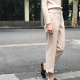 [EWQ] 2018 New Fashion Casual Loose Hot Sale Pencil Pants Autumn Ankle-Length Solid Button Pocket Trendy Women Bottoms BD458 - thefashionique